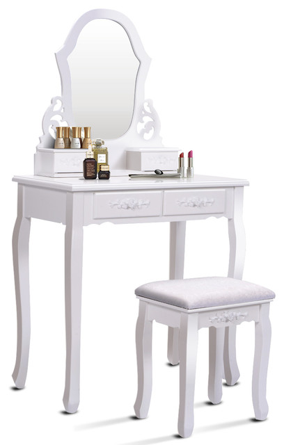 . Costway White Vanity Dressing Table Set bathroom W Stool Mirror   4 Drawer