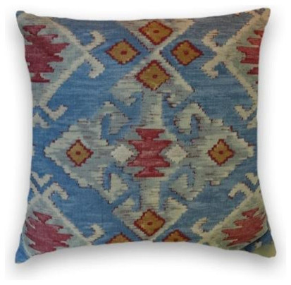 Blue Red Cream Kilim Throw - Traditional - Decorative Pillows - by Cody & Cooper Designs