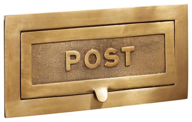 Large Postal Letter Plate, 380mm, Antique Satin Brass