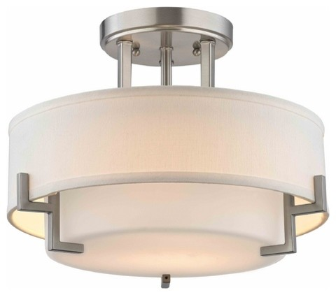 Modern Ceiling Light With White Gl In Satin Nickel Finish