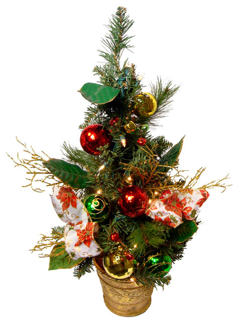 Poinsettia and Ball Ornament Pre-Lit Decorated Christmas Tree, Clear Lights, 2' - Traditional - Christmas Ornaments - by Northlight Seasonal