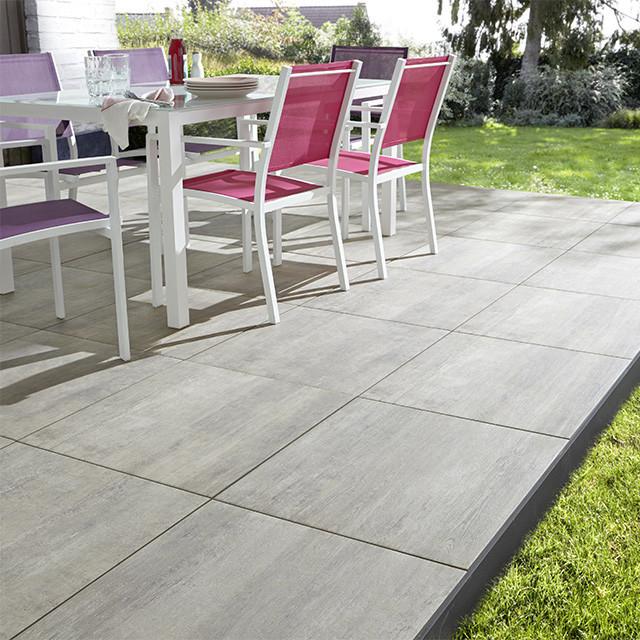 carrelage terrasse gris 60 x 60 cm abbiati contemporain carrelage sol et mur par castorama. Black Bedroom Furniture Sets. Home Design Ideas