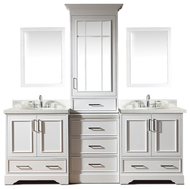 Ariel Stafford 85 Double Sink Vanity Set White Center Medicine Cabinet Transitional Bathroom Vanities And Sink Consoles By Buildcom Houzz
