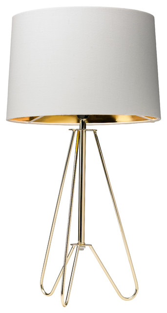 Ziggy Tripod Table Lamp, Cream And Gold Modern Table Lamps