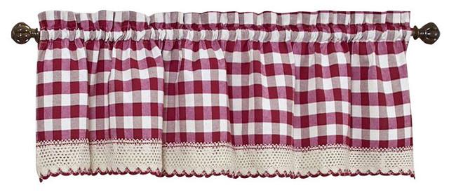 Buffalo Check Pattern Valance, 58x14, Burgundy.