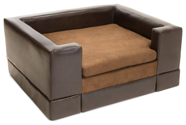 Rover Chocolate Brown Leather Dog Sofa Bed Large Contemporary Beds