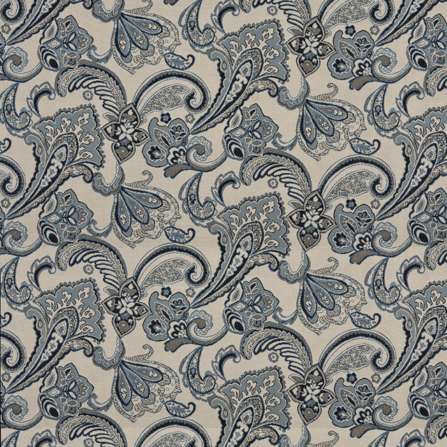Navy Blue Beige Floral Foliage Indoor Outdoor Upholstery Fabric By ...