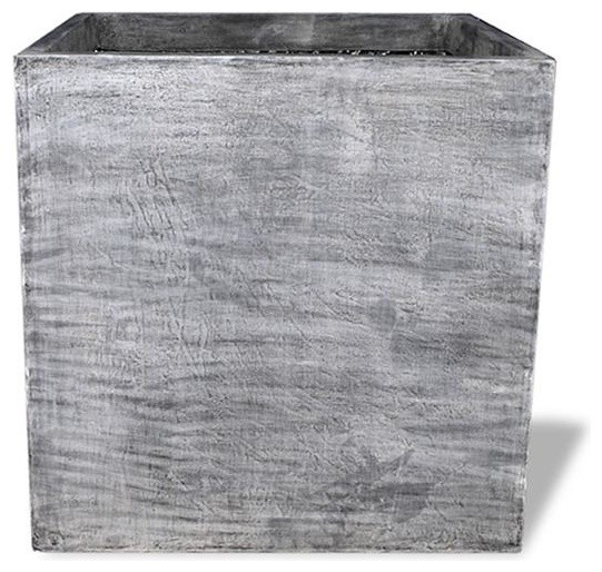 Square Modular Planter, Charcoal, 42x42x36, With Drainage Holes