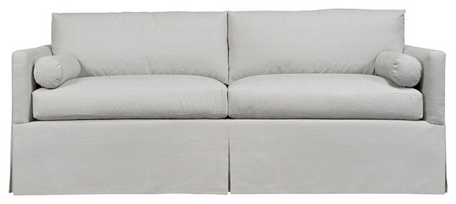 Whistler Boxed Back Sofa With Skirt, Silver
