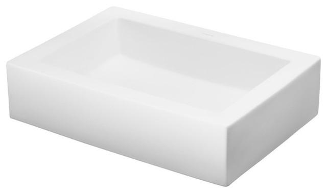Ronbow Essentials Format 22 Rectangular Ceramic Vessel Bathroom Sink, White.