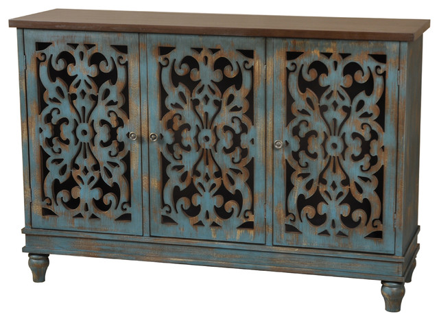 Northfield 3 Door Distressed Cabinet - Traditional ...