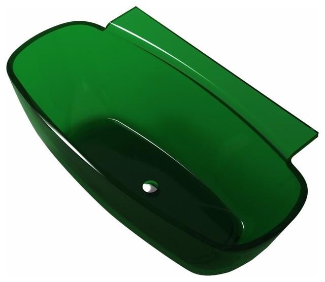 "Anzzi Vida 62""x32"" Freestanding Soaking Bathtub Translucent Emerald Green."