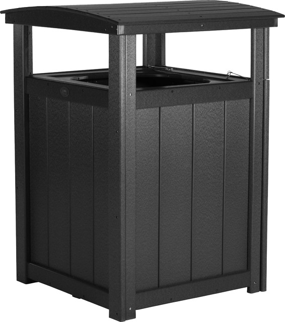 Poly Lumber Commercial Grade Trash Can Modern Outdoor
