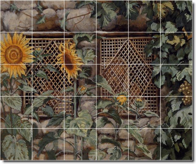James tissot garden painting ceramic tile mural 50 for Ceramic mural artists
