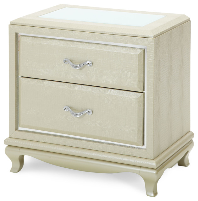After Eight Upholstered Nightstand, Pearl Croc