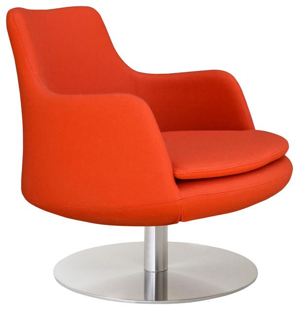 Dervish Lounge Swivel Round Armchair, Orange Camira Wool