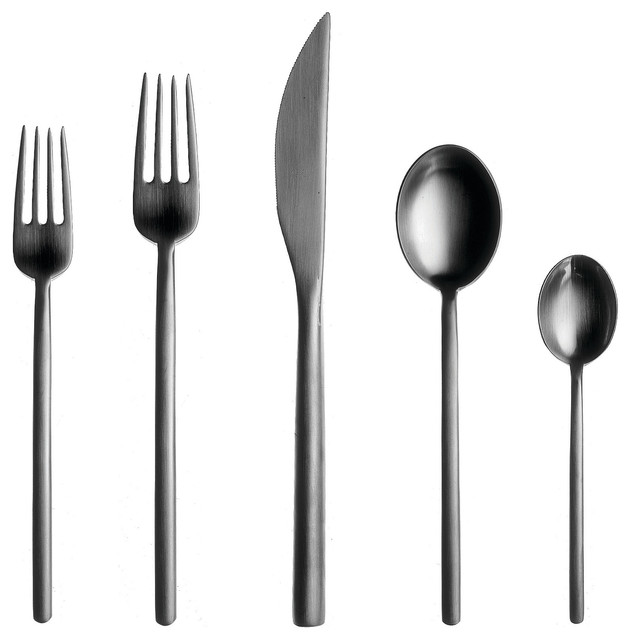 Due 5 Piece Utensil Silverware Set Modern Flatware And Silverware Sets By Ahalife
