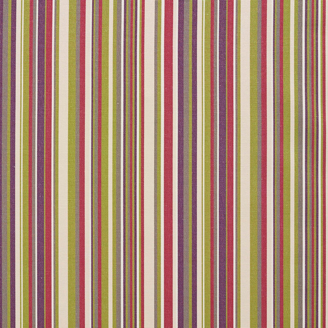 Pink, Purple, Green and Cream Smooth Thin Striped Upholstery Fabric By The Yard