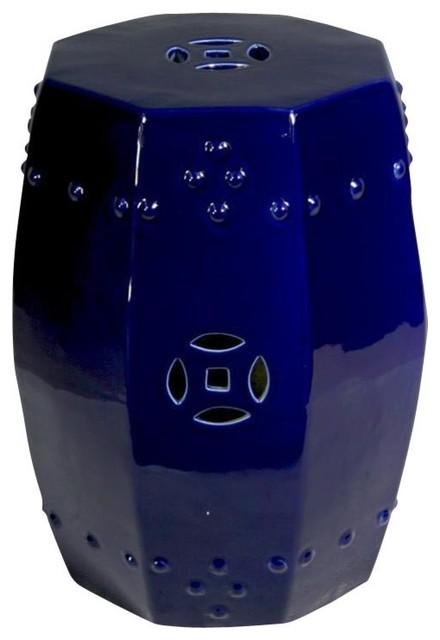 Pleasing Octagonal Cobalt Blue Garden Stool Machost Co Dining Chair Design Ideas Machostcouk