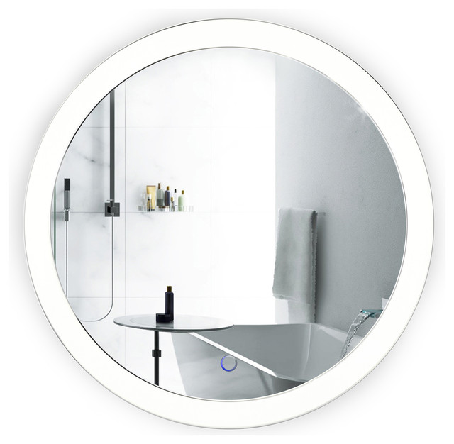 """LED Round Lighted Bathroom Mirror With Dimmer & Defogger - 22"""" Sol by Krugg"""
