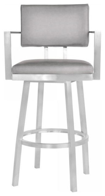 """Balboa 30"""" Bar Height Barstool-Arms, Brushed Stainless Steel/Vintage Gray"""
