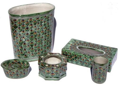 Green Peacock Talavera Ceramic Bathroom Set Contemporary Bathroom Accessory Sets By Fine Crafts Imports