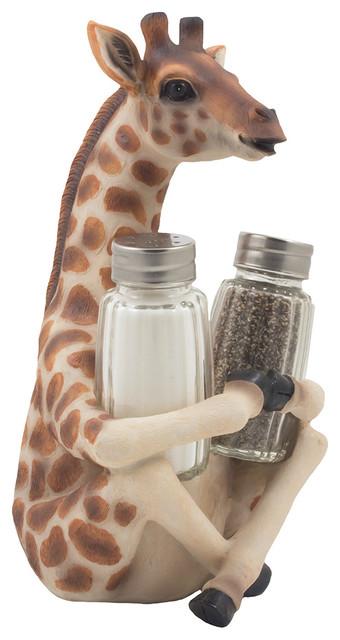 Giraffe Decorative Glass Salt and Pepper Shaker 3-Piece Set