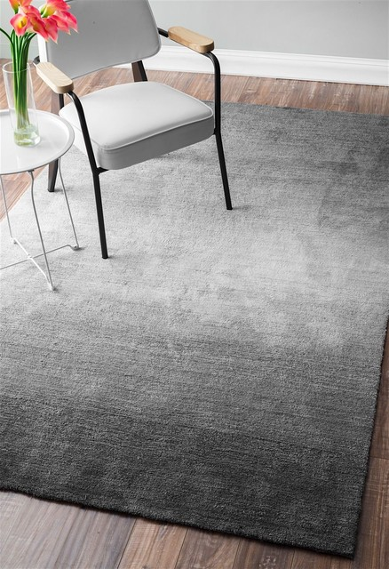 "Plush Ombre Bernetta Area Rug, Rectangle, Gray, 7&x27;6""x9&x27;6""."