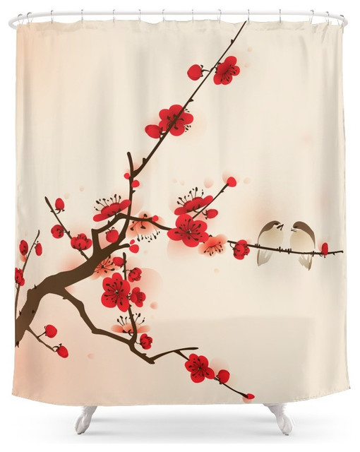 Society6 Oriental Plum Blossom In Spring Shower Curtain Asian Shower  Curtains