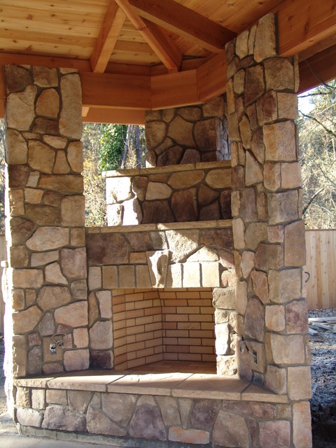 Outdoor fireplace with bbq grill and pizza oven for Outdoor fireplace portland oregon