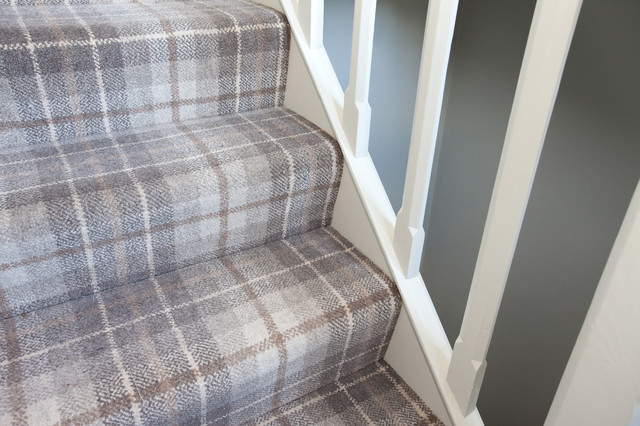 Tartan Grey Carpet To Staircase Country Surrey By Higherground Houzz Uk