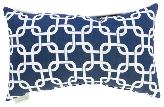 Majestic Home Goods Links Small Pillow, Navy Blue.