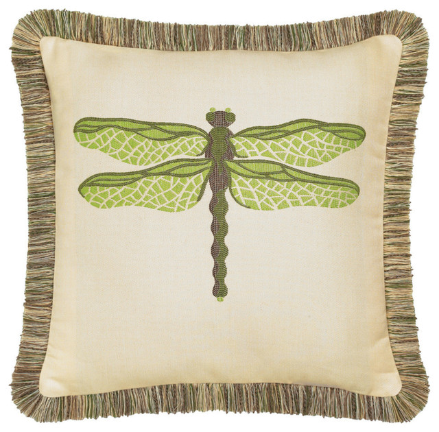 Elaine Smith Dragonfly Peridot Pillow Transitional Outdoor Cushions And  Pillows
