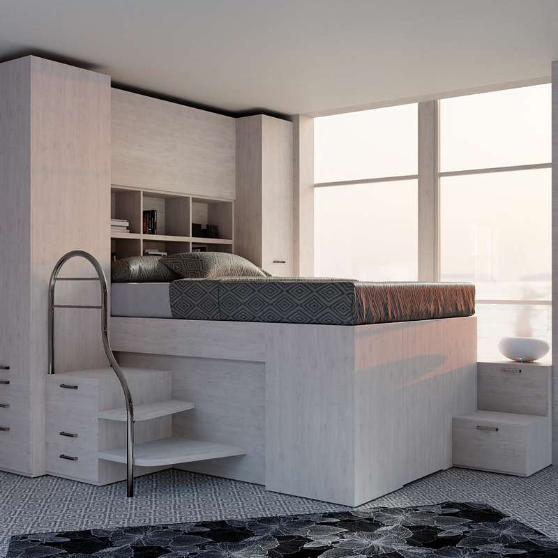 Teenage bedroom + storage bed unit
