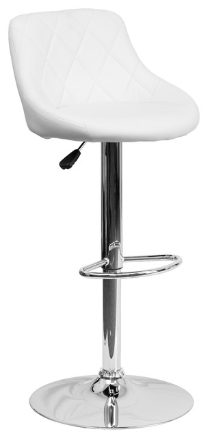 Peachy Offex White Vinyl Upholstery Bucket Seat Height Adjustable Bar Stool Bralicious Painted Fabric Chair Ideas Braliciousco