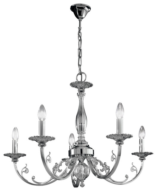 Traditional Silver Haematite Gate Post Lantern Or Driveway: Pisani Traditional 5-Arm Chandelier