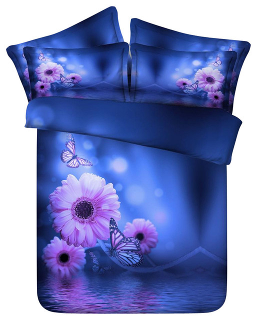 Purple Flower 4 Piece Duvet Cover Set