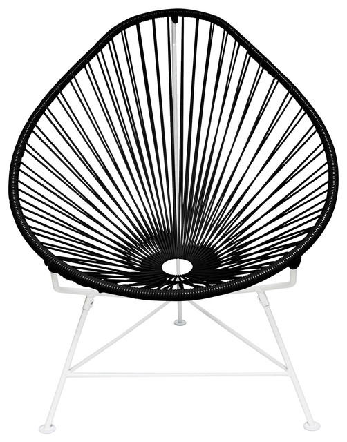 Acapulco Chair, White Frame, Black Weave Midcentury Outdoor Lounge Chairs