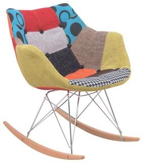 LeisureMod Willow Patchwork Fabric Eiffel Rocking Chair