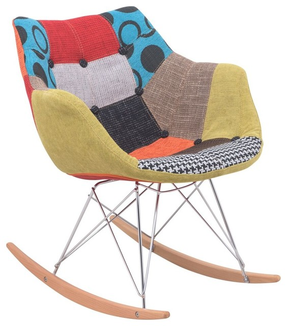 ... Willow Patchwork Fabric Eiffel Rocking Chair eclectic-rocking-chairs