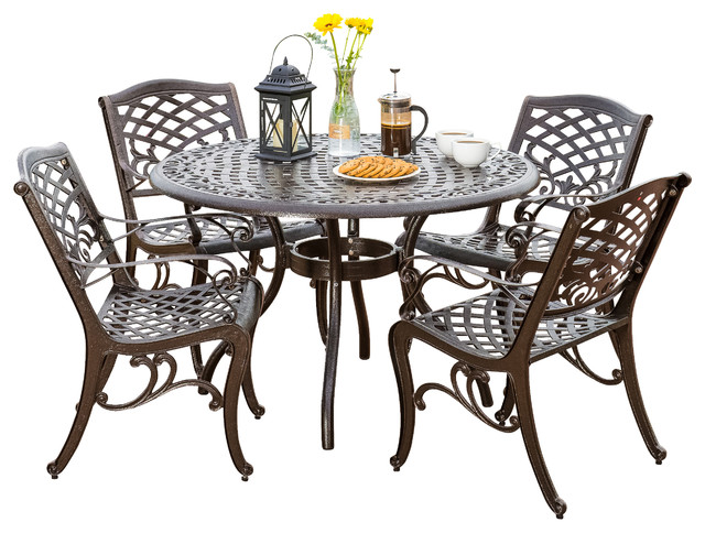 Covington Outdoor Cast Aluminum Dining 5-Piece Set.
