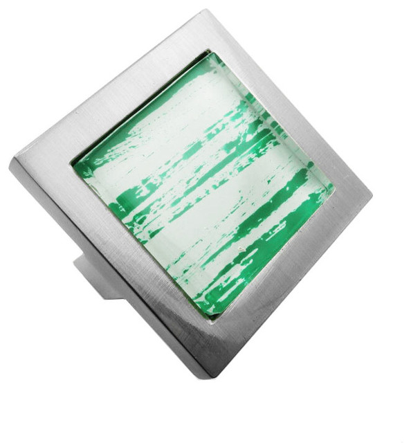 ModBaron - Hand Brushed Green Streaks Crystal Glass Brushed Nickel Square Manor Knob - View in ...