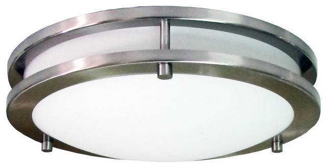 """Homeselects 16"""" Saturn Flush Mount With Alabaster Glass Globe."""