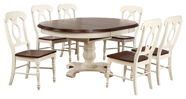 7 Piece Butterfly Leaf Dining Table Set Napoleon Chairs
