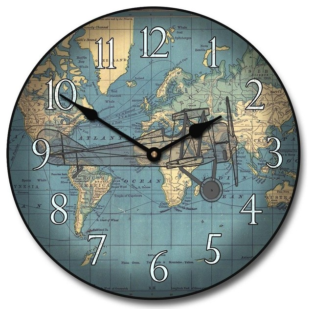 World Map Clock Round The World Map Clock   Contemporary   Wall Clocks   by Clocks  World Map Clock