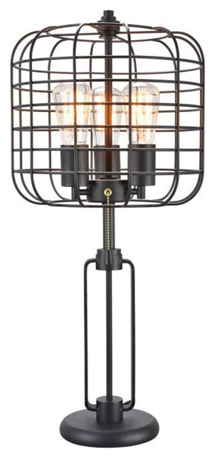 26.5 Tall Edison 3-Light Table Lamp, Industrial Cage Design, Powder Coated by Ore International