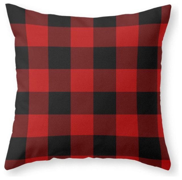 Black Plaid Throw Pillow : Red and Black Buffalo Plaid Throw Pillow - Rustic - Decorative Pillows - by Society6