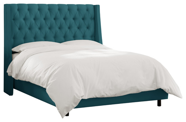 Tufted Wingback Bed Shantung Peacock Traditional Beds