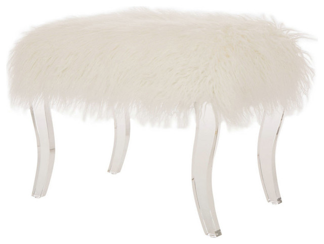 "24.02""l Faux Fur Acrylic Bench."