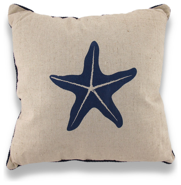 Starfish Nautical Throw Pillow, Blue Rope Trim - Beach Style - Decorative Pillows - by Zeckos